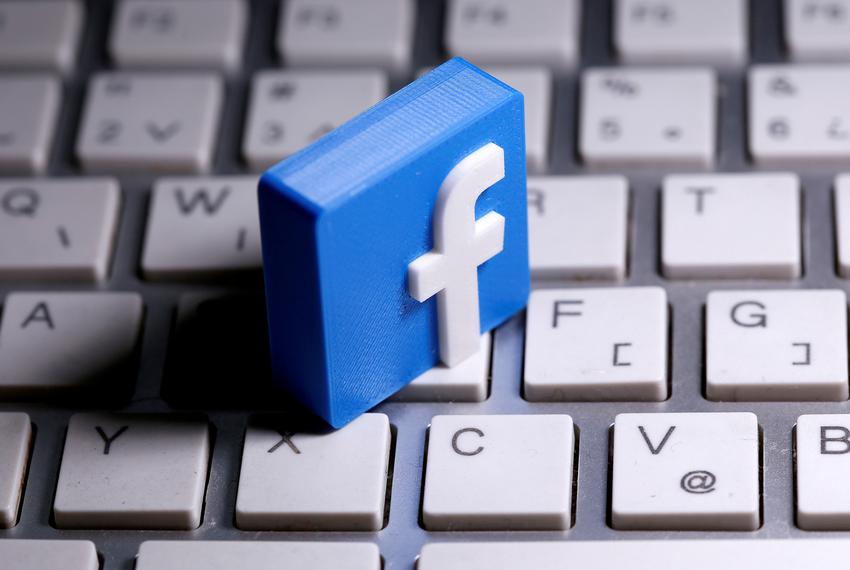 A 3D-printed Facebook logo on a keyboard in this illustration taken March 25, 2020.