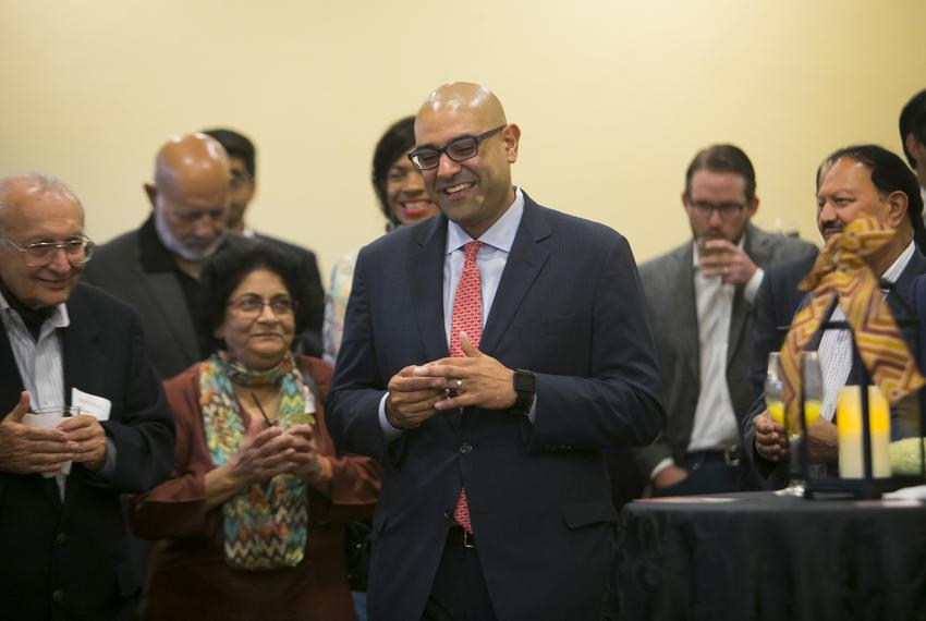 Judge Ravi K. Sandill smiles after he is introduced during a Meet & Greet at the Sweetwater Country Club in Sugar Land on Th…