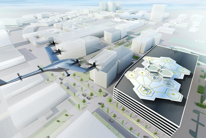 Artist's visualization of a Vertical Take-off and Landing (VTOL)aircraft in Dallas.