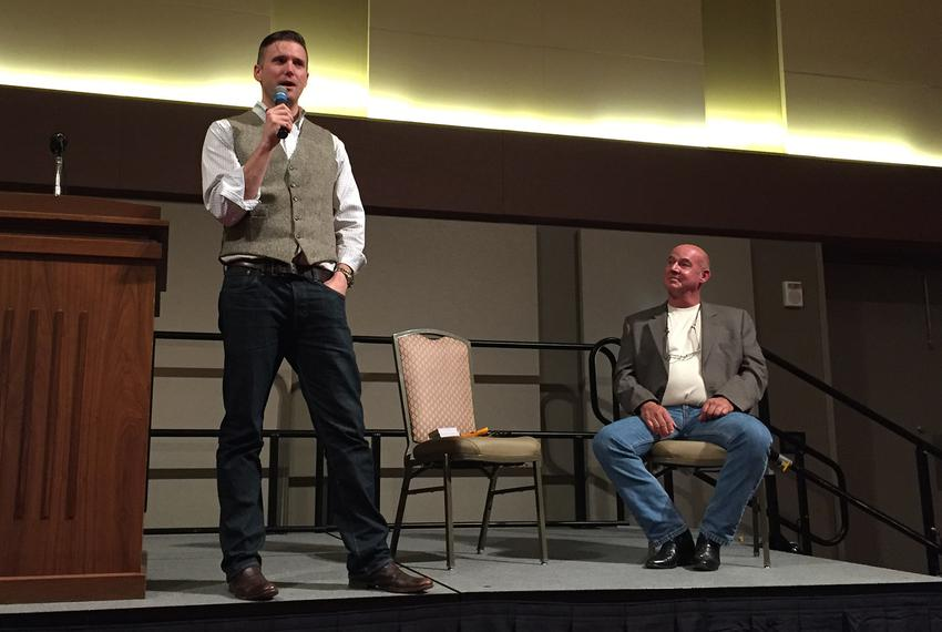 White nationalist Richard Spencer speaks at Texas A&M University in College Station while Preston Wiginton, who privately ar…