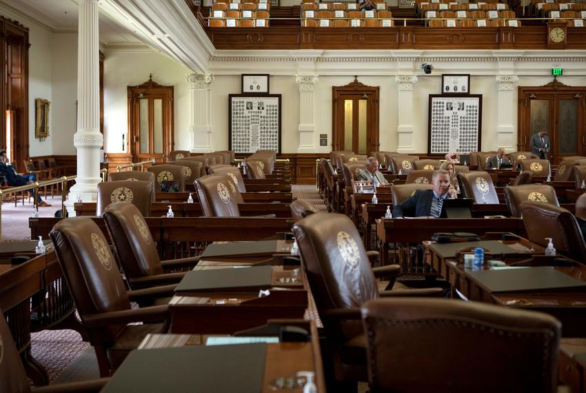 An empty House floor the day after Texas Democrats left the state to break quorum over a Republican-led voting restrictions …