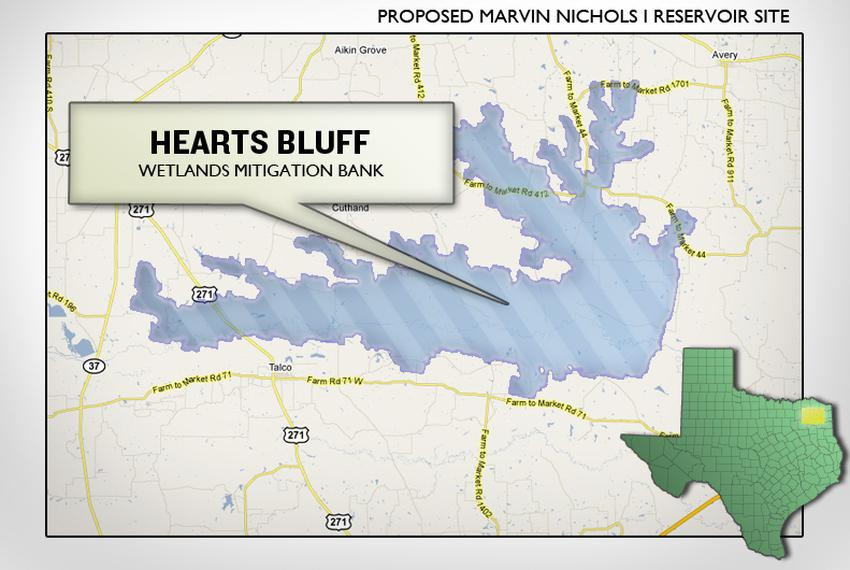 The Hearts Bluff Mitigation Bank as pictured with the proposed Marvin Nichols Reservoir.