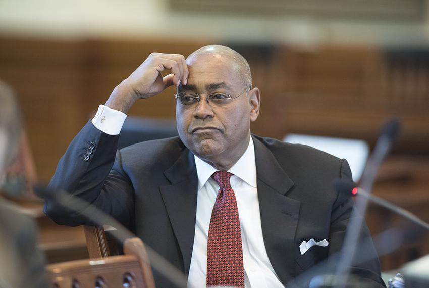 Retiring Sen. Rodney Ellis, D-Houston, listens to testimony during the Senate Committee on State Affairs hearing on religiou…