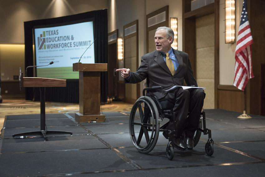 Gov. Greg Abbott acknowledges the crowd of business leaders and educators following his speech Sept. 19, 2016 to the Texas...
