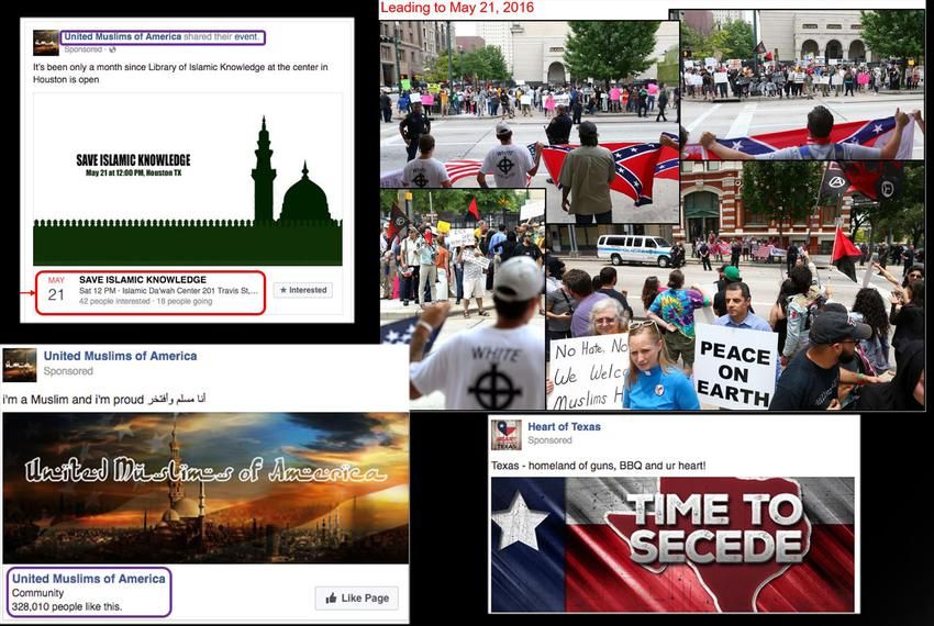 Screenshots released by federal lawmakers of Russian-linked Facebook pages promoting anti-Muslim and pro-Muslim rallies on...
