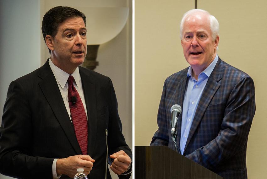 Former FBI Director James Comey, (l.) and U.S. Sen. John Cornyn.