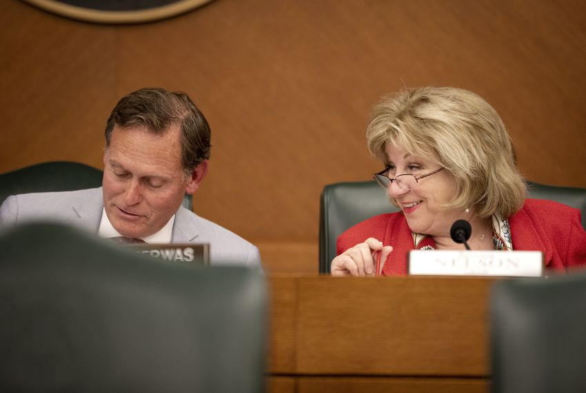 State Rep. John Zerwas, R-Richmond, and State Sen. Jane Nelson, R-Flower Mound, during a budget conference at the Capitol on May 17, 2019.