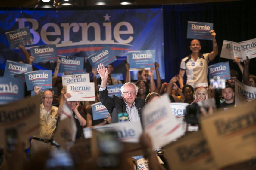 Bernie Sanders, 2016 Democratic candidate for president, speaks at a rally in Dallas on Sunday, July 19, 2015.