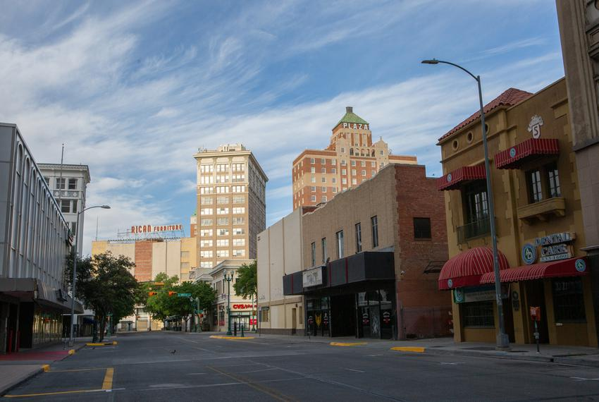 Downtown El Paso is vacant during the coronavirus pandemic.