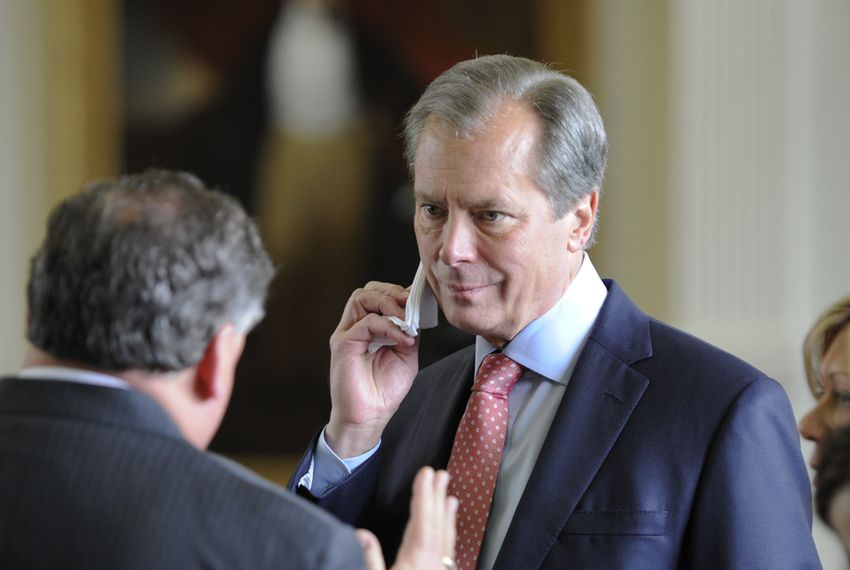 Lt. Gov. David Dewhurst listens to Sen. Tommy Williams, R-The Woodlands, during the Senate session on April 2, 2013.