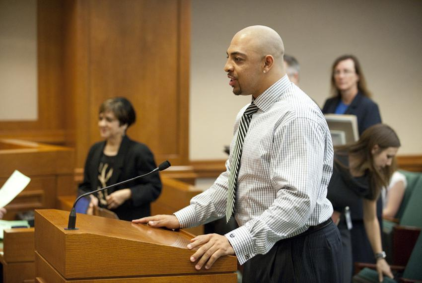 Bo Scaife, former UT player and current Tennessee Titan tight end, testifies in House Public Health on April 20, 2011