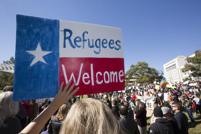 A group gathered at Wooldridge Park in Austin on Nov. 22, 2015, to protest Gov. Greg Abbott's decision not to accept refugee…