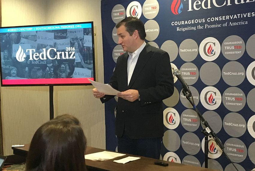 Ted Cruz campaigns in Seneca, South Carolina on Feb. 17, 2016.