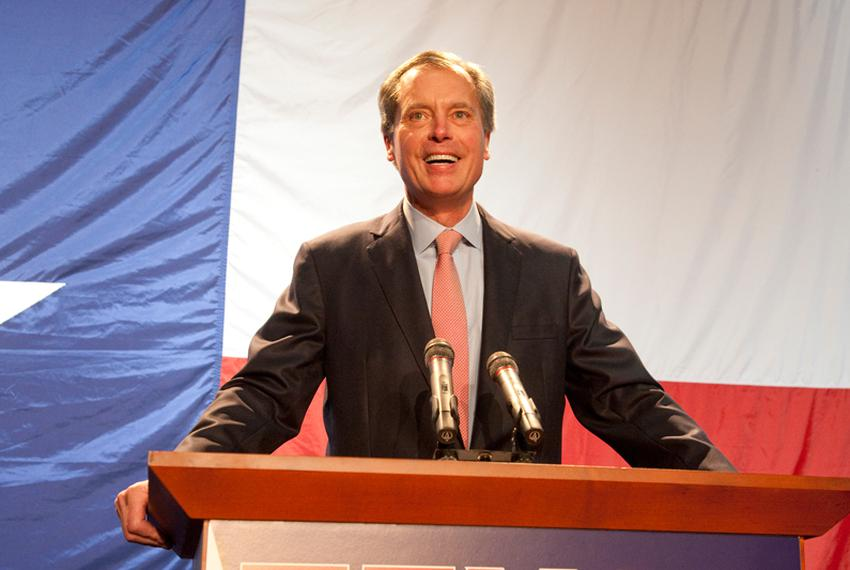 Lt. Gov. David Dewhurst speaks at the Republican watch party at the TDS Exotic Game Ranch on Election Night, Nov 2, 2010.  D…