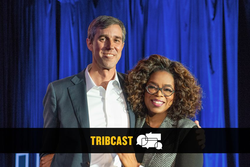 "Oprah Winfrey with former U.S. Rep. Beto O'Rourke at Winfrey's ""SuperSoul Conversations from Times Square"" at the PlayStation Theater in New York City on Feb. 5, 2019."