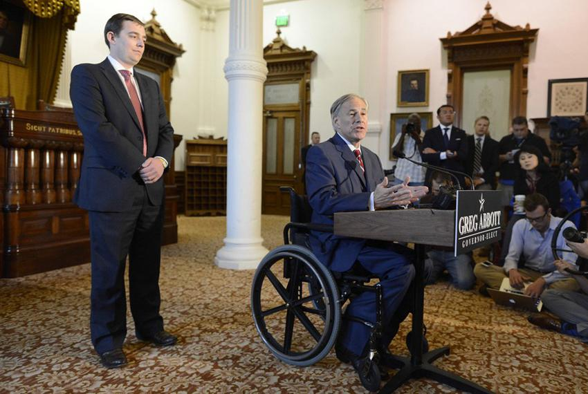 Texas Governor-Elect Greg Abbott introduces Daniel Hodge as interim chief of staff who will oversee the transition team fr...