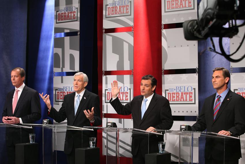 David Dewhurst, Tom Leppert, Ted Cruz and Craig James at a U.S. Senate debate in Dallas on April 13, 2012.