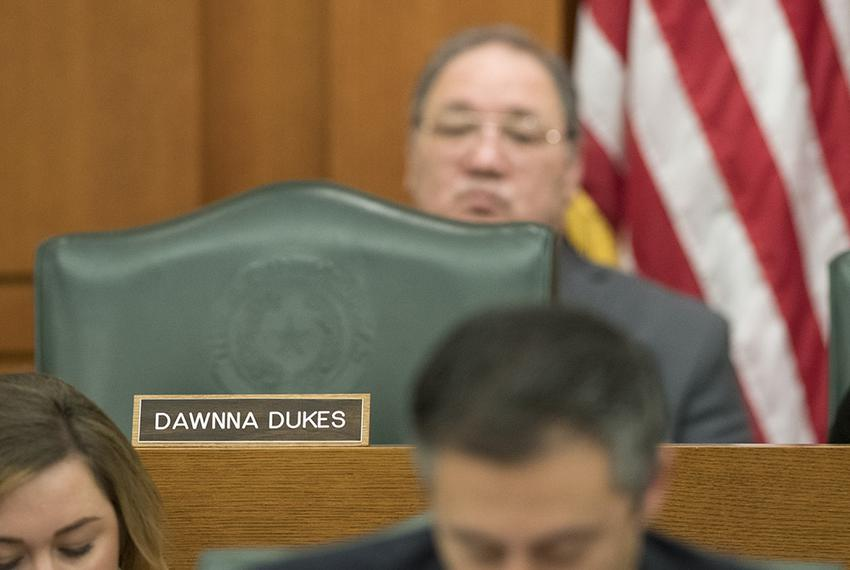 The chair of State Rep. Dawnna Dukes, D-Austin, sits empty during the opening hour of the House Appropriations Committee m...