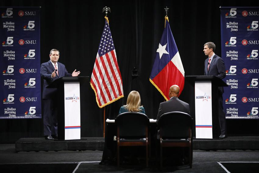 Sen. Ted Cruz and U.S. Rep. Beto O'Rourke, D-El Paso, during their debate at McFarlin Auditorium on the SMU campus in Dallas…