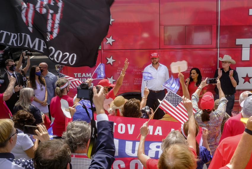 Trump supporters greeted campaign surrogates — former campaign manager Brad Parscale, senior adviser Katrina Pierson and T...