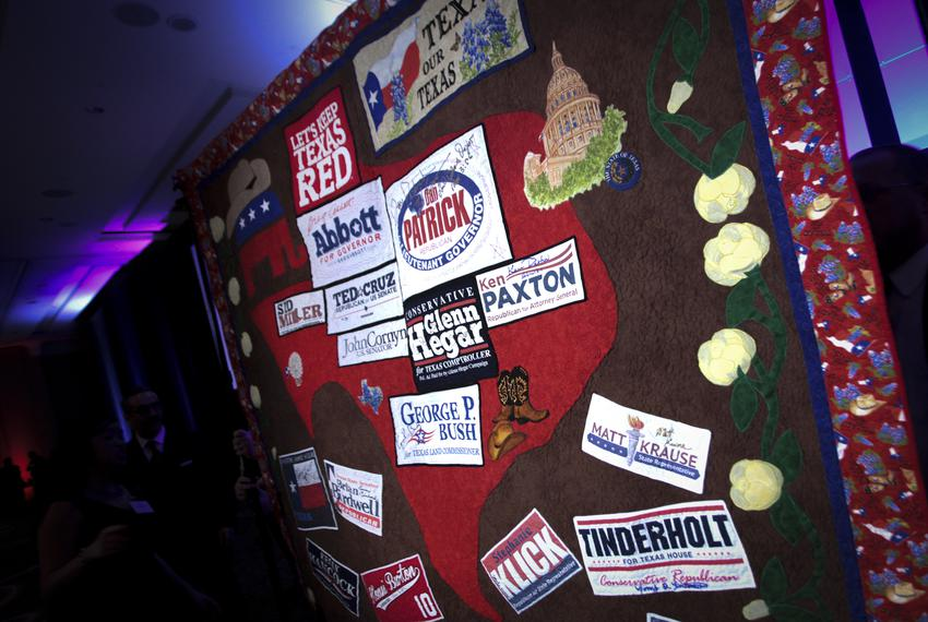 Quilt at the Lincoln Day Dinner for the Tarrant County Republican Party in Fort Worth.