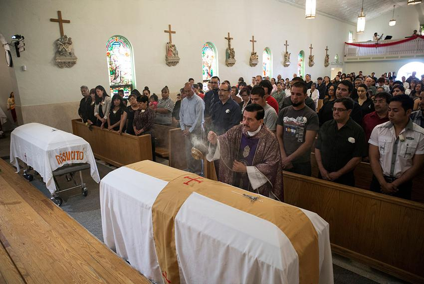 The mass for brothers Elmer García Archuleta and Edgar Ivan García on March 27, 2015, in Fabens, Texas. The two brothers wer…