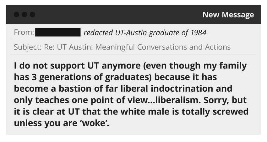 """An illustration of an email sent to UT-Austin obtained in a public records request.  """"I do not support UT anymore (even th…"""