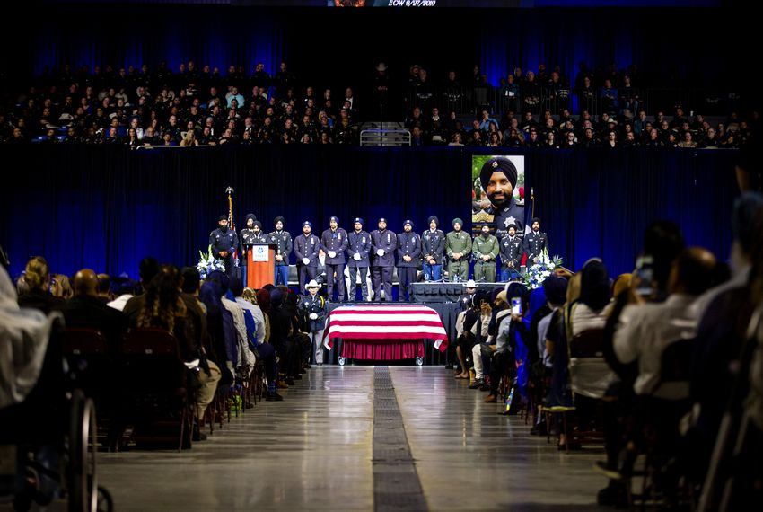 A service was held Wednesday for Deputy Sandeep Dhaliwal, the first Sikh to serve the Harris County Sheriff's Office. Thousands of people attended the service at the Berry Center of Northwest Houston.