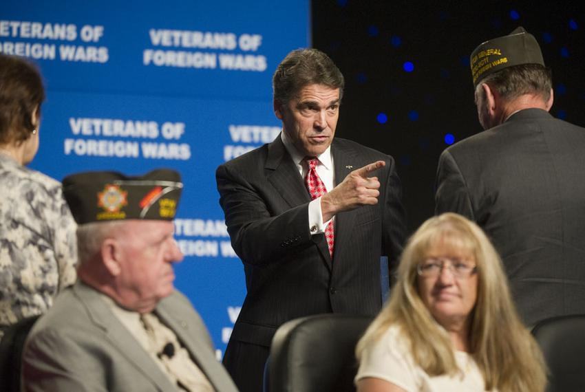 Gov. Rick Perry after his speech to the Veterans of Foreign Wars annual convention in San Antonio on Aug. 29, 2011.