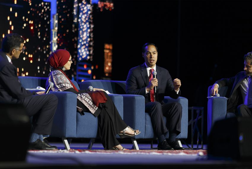 Former Housing and Urban Development Secretary Julián Castro speaks at a presidential candidate forum in Houston on Saturday as part of the annual Islamic Society of North America convention.