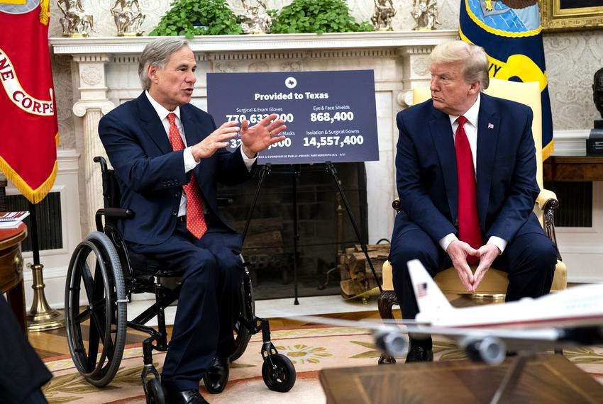 President Donald Trump makes remarks as he meets with Gov. Greg Abbott  in the Oval Office on Thursday, May  7, 2020.