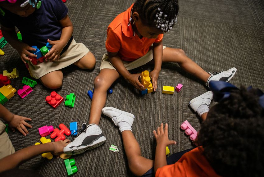 A flurry of colors and activity, building time starts the day for preschoolers at Greater Cornerstone Academy in north Dallas on Oct. 9, 2018.