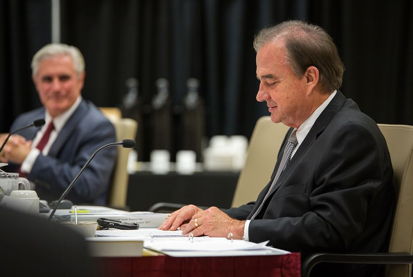 Texas A&M System Chancellor John Sharp at a Board of Regents' meeting on August 23, 2017.