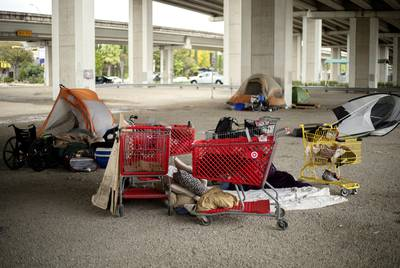 A homeless encampment under Ben White Boulevard and Lamar Avenue.