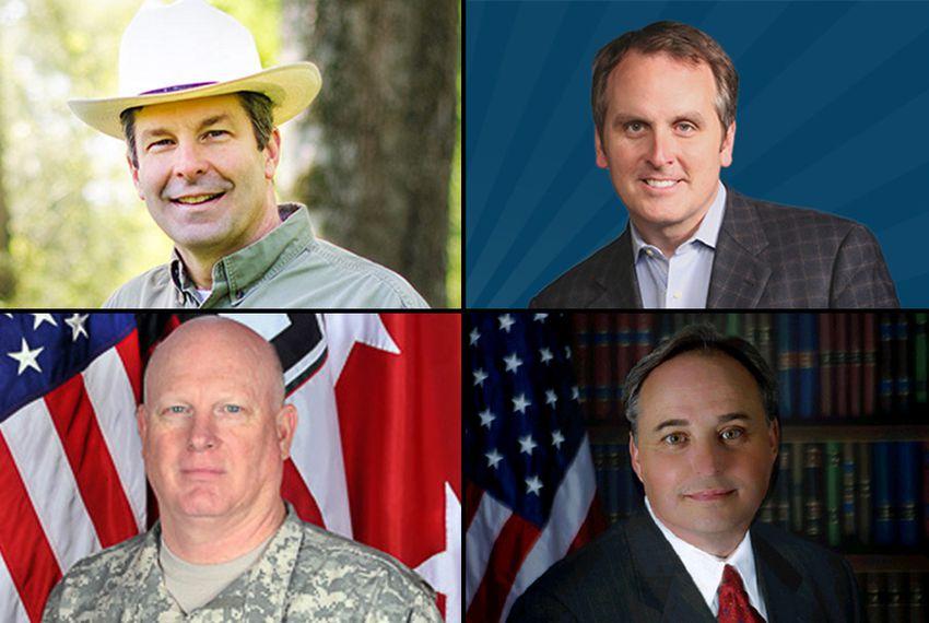 "Top Row: David Simpson and Bryan Hughes Bottom Row: Major General James K. ""Red"" Brown Jr. and Mike Lee"