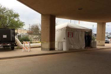 Rolling Plains Memorial Hospital has erected a tent outside of its emergency room to screen all visitors due to the COVID-19 pandemic.