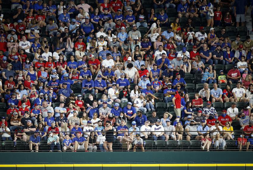Fans watched a game between the Texas Rangers and the San Diego Padres at Globe Life Field on April 11, 2021.